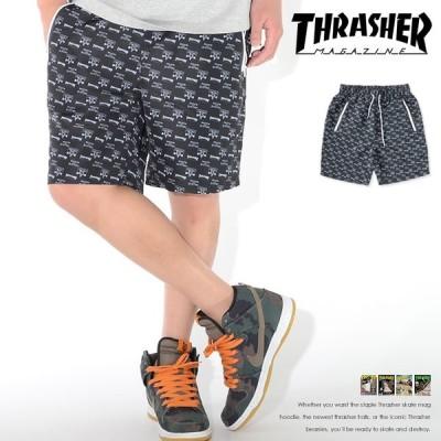 THRASHER スラッシャー ハーフパンツ ショートパンツ 総柄 スケートゴート ジップポケット (TH6044) セール