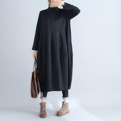 大きいサイズの高品質の新しい女性のハイネック長袖無地のルーズドレス