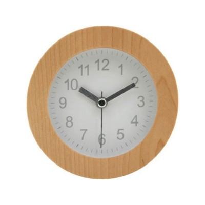 不二貿易 アラームクロック ラウンド ウット゛ 置き時計 10.2cm ホワイト