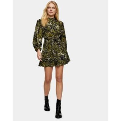 トップショップ レディース ワンピース トップス Topshop leopard frill mini shirt dress in khaki Green