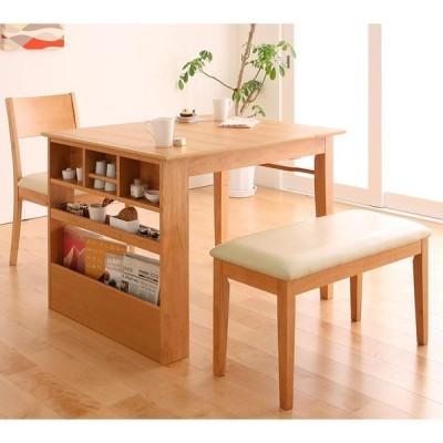 コンパクトエクステンションダイニング 3点セット(テーブル+チェア1脚+ベンチ1脚) W100-135 収納付き ダイニングテーブル
