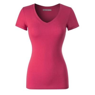 レディース 衣類 トップス Made by Olivia Women's Basic Solid Multi Colors Fitted Short Sleeve T-Shirt [S-3XL] グラフィックティー