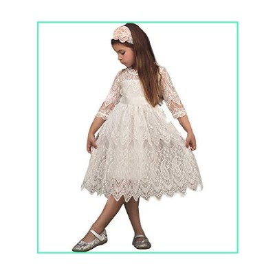NNJXD Girls Lace Princess Dress Flower Girl's Bridesmaid Wedding Party Pageant Vintage Dresses Size(110) 3-4 Years 05White並行輸入品