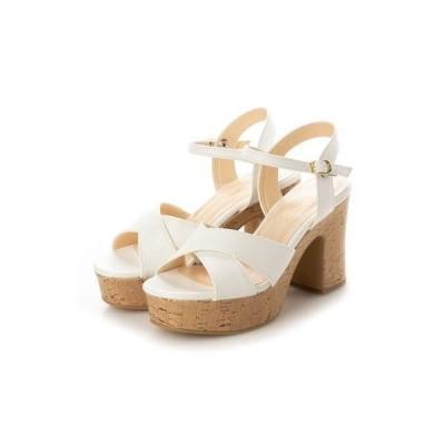 シューファンタジー Shoe Fantasy クロスヒールサンダル (white)