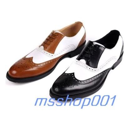 革靴 メンズ ビジネスシューズ 本革 ウイングチップ ブローグ 切替 牛革 ロングノーズ 紳士靴 通勤 通学 高質 イギリス風