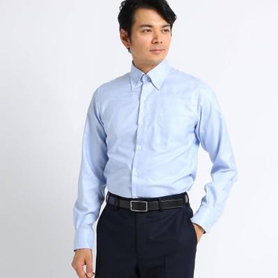 タケオ キクチ TAKEO KIKUCHI 【Sサイズ-】シャークスキン ビジネスシャツ (ブルー)