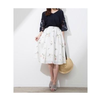 花柄スカート レディース スカート フレアスカート フェミニン 膝丈 プリーツ ウエストゴム 花柄 スカート