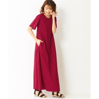 【大きいサイズ】 (接触冷感)全方向ストレッチハイブリッドカットソーマキシ丈ワンピース ワンピース, plus size dress