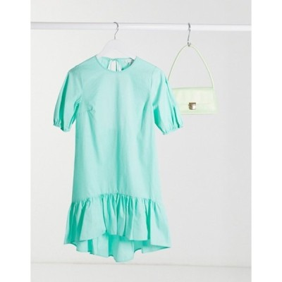 トップショップ レディース ワンピース トップス Topshop poplin mini dress in pale mint