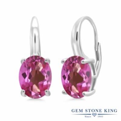 ピアス レディース 5.4カラット 天然 ミスティックトパーズ (ピンク) シルバー925 一粒 大粒 シンプル ぶら下がり レバーバック 天然石