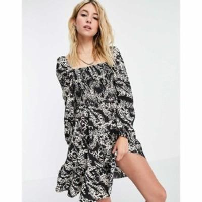 オブジェクト Object レディース ワンピース ミニ丈 ワンピース・ドレス mini smock dress in animal print ブラック