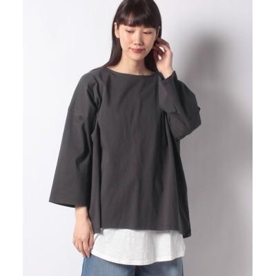 【サマンサ モスモス】 レイヤードゆるロングTシャツセット レディース チャコール グレー F Samansa Mos2