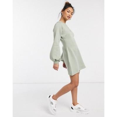 インザスタイル レディース ワンピース トップス In The Style x Stephsa exclusive pleat waist detail sweat skater dress in sage