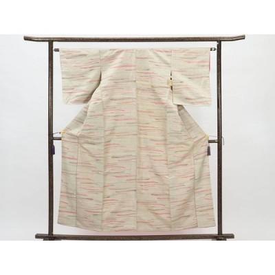 リサイクル着物 紬 正絹ベージュ地袷紬着物