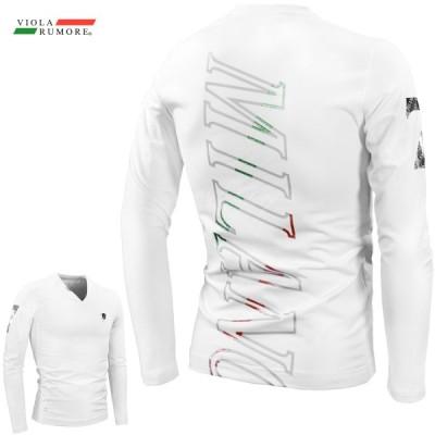 VIOLA ヴィオラ ビオラ Tシャツ Vネック メタリックプリント ストレッチ バックプリント 細身 長袖Tシャツ mens メンズ(ホワイト白) 11119