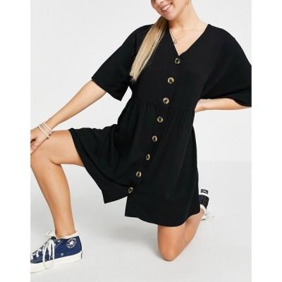 エイソス ASOS DESIGN レディース ワンピース Vネック ミニ丈 ワンピース・ドレス v neck button through mini smock dress in black ブラック