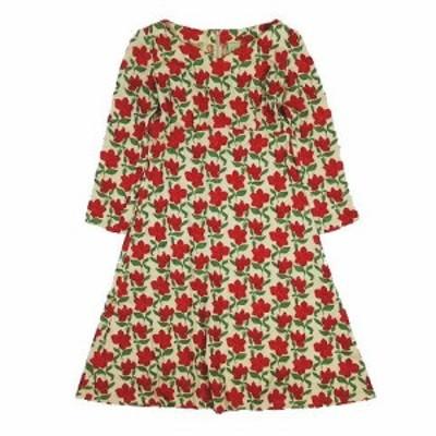 【中古】シビラ SYBILLA 花柄 ワンピース Vネック 長袖 刺繍 ジャガード サイズM 赤 レッド レディース