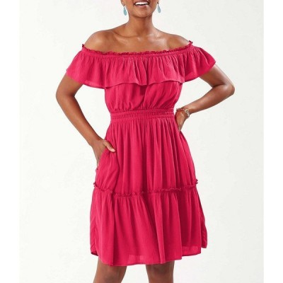 トッミーバハマ レディース ワンピース トップス Caicos Crinkle Gauze Off-The-Shoulder Cinched Waist Dress Amaranth