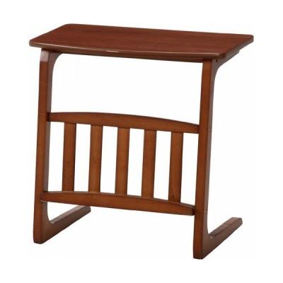 サイドテーブル 木製サイドテーブル ノルン マガジンラック コの字型 幅55cm ブラウン 省スペース マルチテーブル ソファテーブル