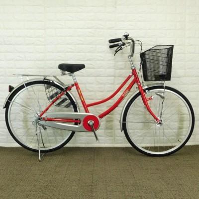 < 新車>自転車 軽快車 当店オリジナル Ruffian 26インチ レッド