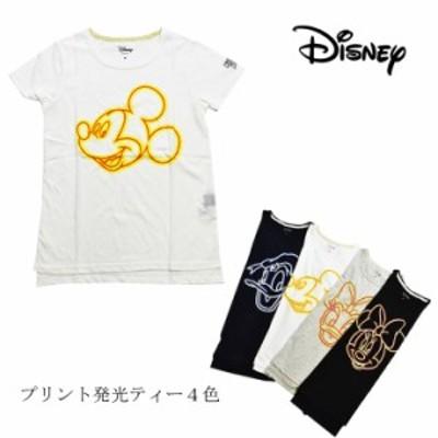 【送料無料】【ポスト投函】Disney ディズニー フェイスプリントTシャツ ティー   キャラクター 夜間発光 発光加工