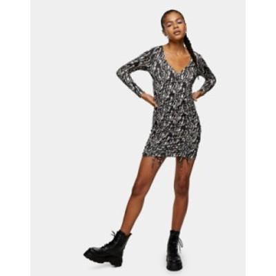 トップショップ レディース ワンピース トップス Topshop animal print ruched mini dress in multi Multi