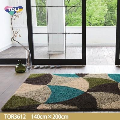 東リ ラグ TOR3612 140cm×200cm遊び毛がでない国産品の定番ラグ。円弧で面構成されたカラフルレトロパターン。