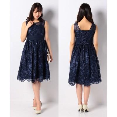 【エイミーパール(ドレス)】オーガンジー×スパンコールドレス