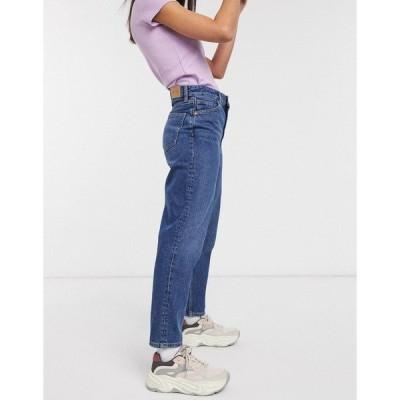 モンキ レディース デニム ボトムス Monki Taiki organic cotton high waist mom jeans in la lune Dusty blue