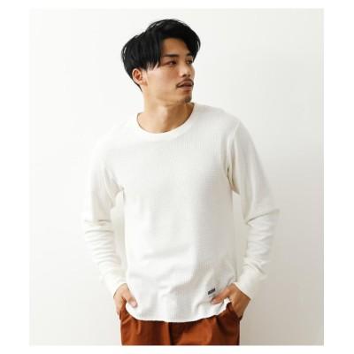 【ロデオクラウンズワイドボウル】 パイナップルワッフル L/S Tシャツ メンズ ホワイト M RODEO CROWNS WIDE BOWL