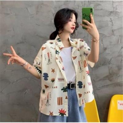 韓国ファッション ゆったり 五分袖 単体ボタン スクエアネック シャツ トップス