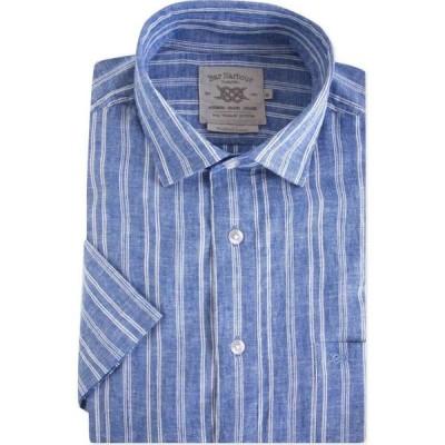 ダブルTWO Double Two メンズ 半袖シャツ トップス Linen Blend Short Sleeve Shirt Blue