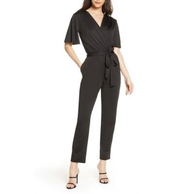 フライシュ レディース ワンピース トップス Flutter Sleeve Wrap Jumpsuit BLACK