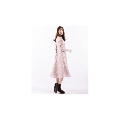 【ウィルセレクション】 フラワーレースバックリボンワンピース レディース ピンク M WILLSELECTION