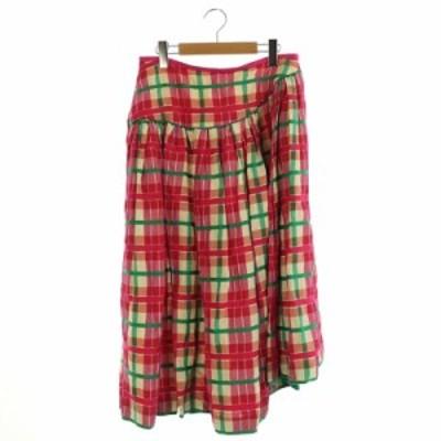 【中古】ドゥロワー Drawer ブロックチェックアシンメトリースカート ロング ギャザー 40 ピンク 緑 レディース