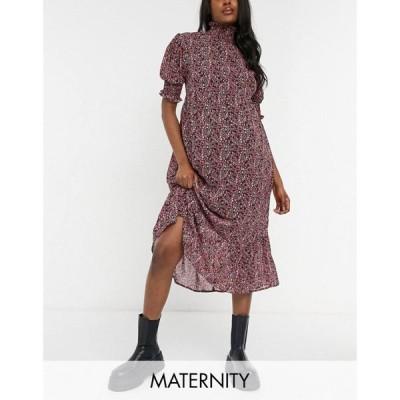 ヴァイオレット ロマンス Violet Romance Maternity レディース ワンピース Aライン high neck tiered smock dress in floral print マルチカラー