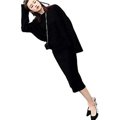 大人 可愛い 無地 ニット スカート セーター セットアップ レディース 黒 FREE(ブラック, Free Size)