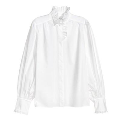 トップス エイチアンドエム ERDEM x H&M Pima Cotton Blouse White Ruffle 2 10 SHIPS TODAY