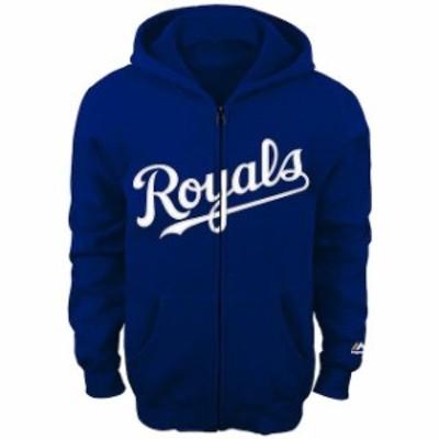 Majestic マジェスティック スポーツ用品  Majestic Kansas City Royals Youth Royal Team Wordmark Full-Zip Hoodie