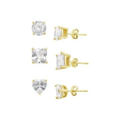 スターリングフォーエバー レディース ピアス・イヤリング アクセサリー Sterling Silver Statement CZ Stud Set of 3 Earrings