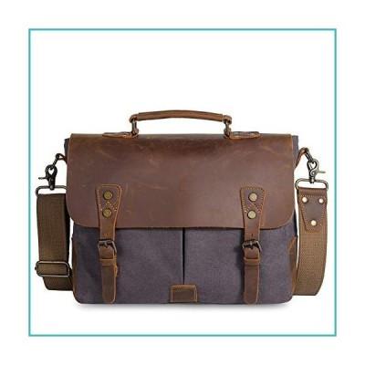 Messenger Bag for Men Women Waterproof Vintage Rugged Leather Canvas Briefcase Large School Travel Laptop Shoulder Bag【並行輸入品】