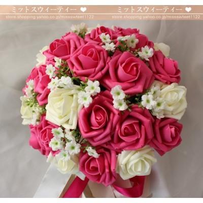ウェデイングブーケ 手作り 造花 ブーケ 花嫁 ブライダルブーケ 安い 結婚式  ブートニア 二次会
