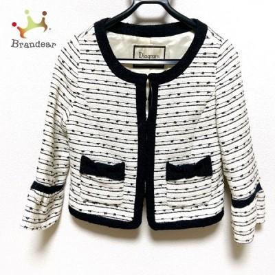 ダイアグラム ジャケット サイズ36 S レディース 美品 - 白×黒 長袖/ラメ/リボン/春/秋 新着 20210311