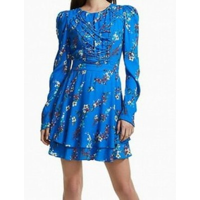 AFRM  ファッション ドレス AFRM NEW Blue Womens Size XL A-Line Floral Print Lace Up Sheath Dress