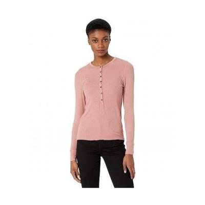 LAmade エルエーメイド レディース 女性用 ファッション Tシャツ Runyon 2x1 Modal Stretch Rib Henley Top - Ash Rose