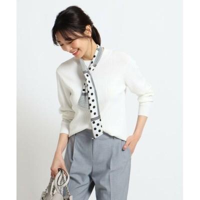 Reflect/リフレクト 【洗える】スカーフ付きリブニット アイボリー(004) 11(L)