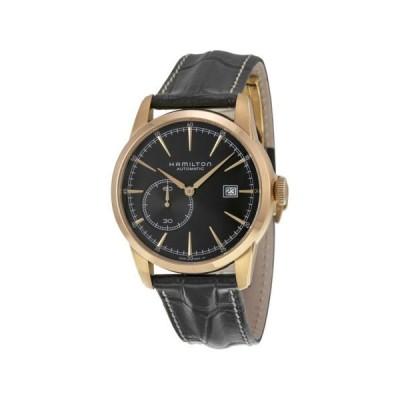 腕時計 ハミルトン Hamilton Railroad スモール Seconds ブラック ダイヤル ブラック レザー メンズ 腕時計 H40545731
