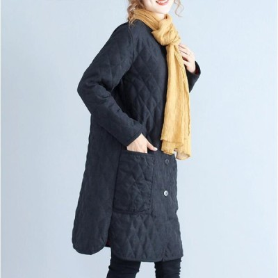 コート中綿ジャケットカジュアルロング丈キルティング無地ゆったりサイズレディースアウター