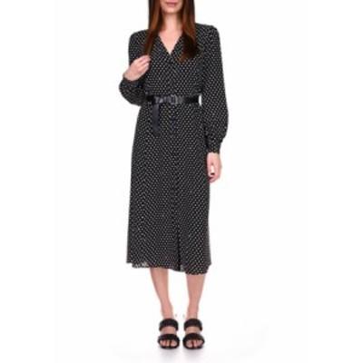 マイケルコース レディース ワンピース トップス Women's Dot Print Belted Dress Black/White