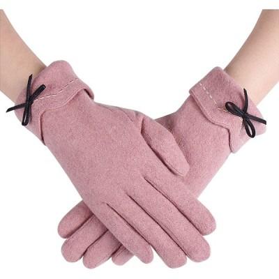 レディース手袋 暖かい冬用手袋 アウトドアグローブ 裏起毛 保温 通勤 通学 防寒 防風 自転車 バイク サイクルグローブ 可愛い女性手袋 (ピンク)